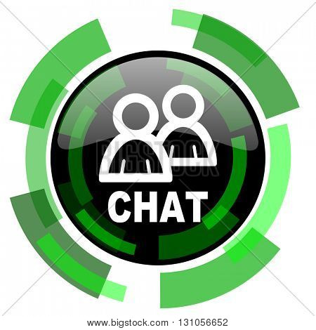chat icon, green modern design glossy round button, web and mobile app design illustration