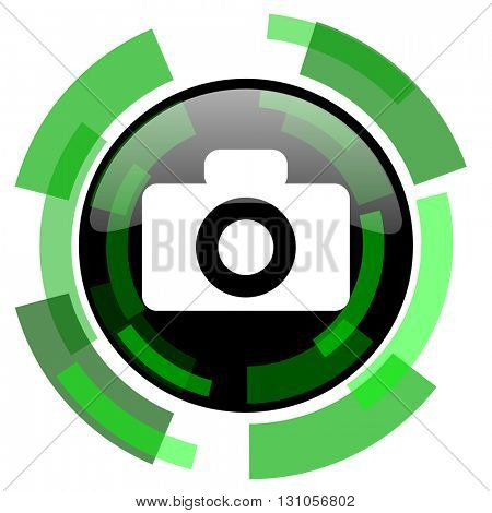 camera icon, green modern design glossy round button, web and mobile app design illustration