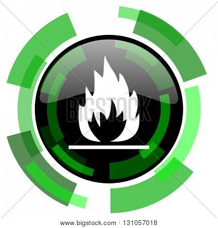 flame icon, green modern design glossy round button, web and mobile app design illustration