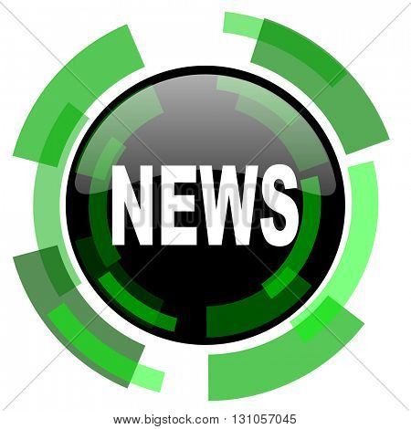 news icon, green modern design glossy round button, web and mobile app design illustration