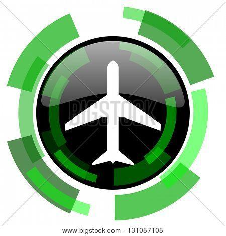plane icon, green modern design glossy round button, web and mobile app design illustration