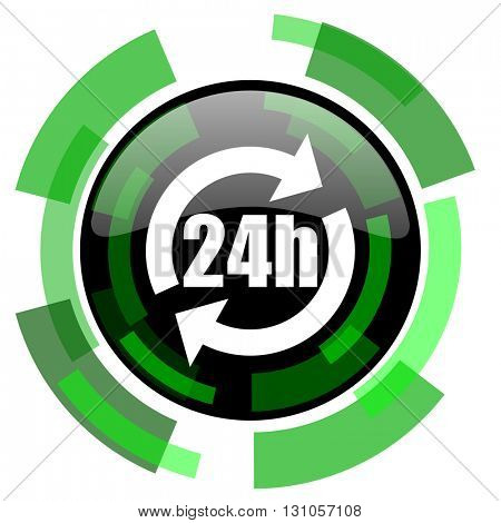 24h icon, green modern design glossy round button, web and mobile app design illustration