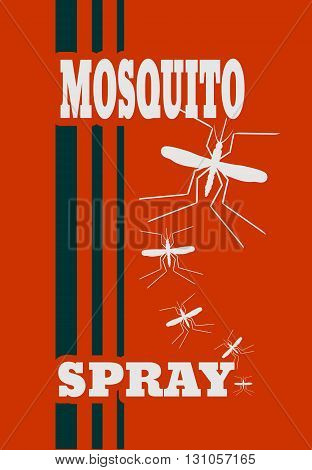 Illustration of anti-mosquito spray label. Mosquito spray text.