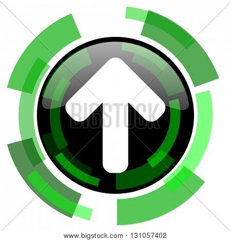 up arrow icon, green modern design glossy round button, web and mobile app design illustration