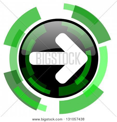 right arrow icon, green modern design glossy round button, web and mobile app design illustration