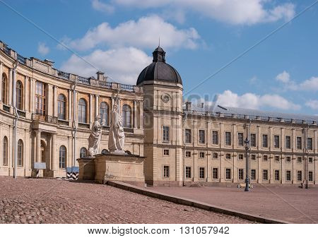 Gatchina Palace. Palace Square and the main entrance. Palace Square and the main entrance. Central building with balconies and side tower.