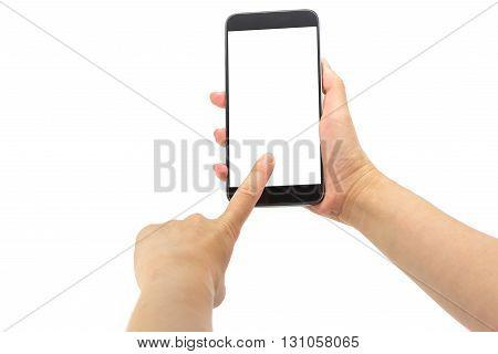 Hand holding smartphone isolated on white background
