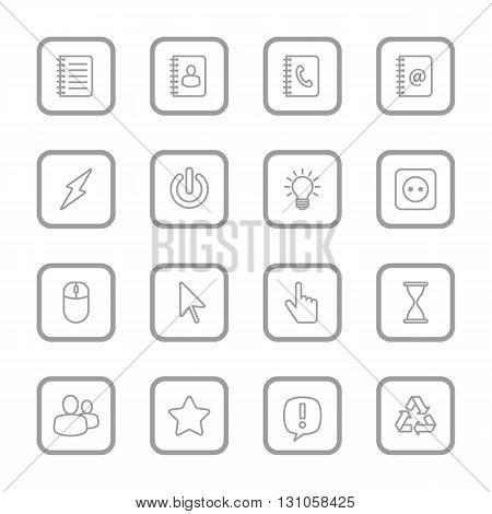 gray line web icon set for with rounded rectangle frame web design user interface (UI) infographic and mobile application (apps)