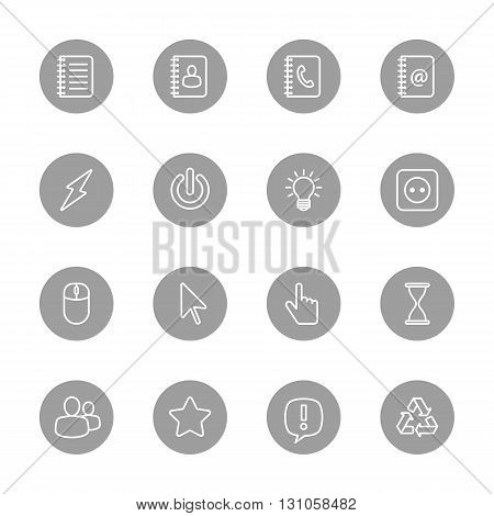 line web icon set on gray circle for web design user interface (UI) infographic and mobile application (apps)