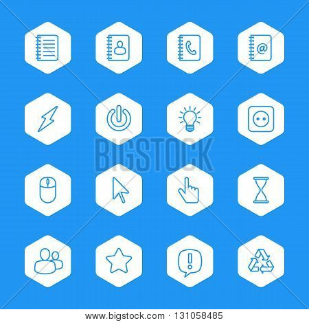line web icon set on white hexagon for web design user interface (UI) infographic and mobile application (apps)