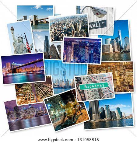 Set of New York photos arranged in frame