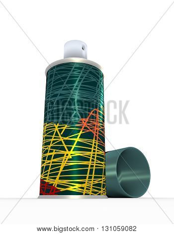 Illustration of spray bottle with cap over white background. 3D rendering. Metallic printing pen stroke cover