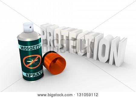 Illustration of anti-mosquito spray with cap over white background. 3D rendering. Metallic painting label. Mosquito spray text.