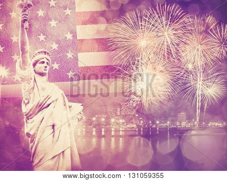 The Statue of Liberty with celebration firework on the background of flag usa 4th July Independence day concept vintage color tone