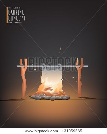 Illustration vector beautiful Campfire cooking for a living in the night. But it can be used on the day.