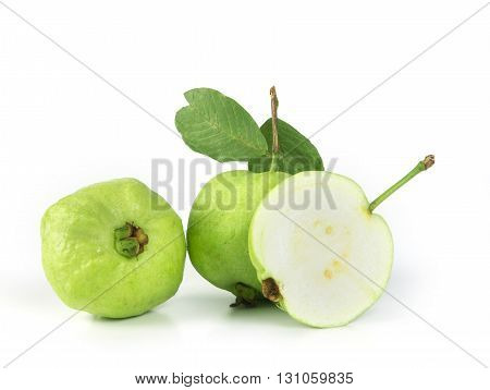 the Fresh green Guava fruit on white background