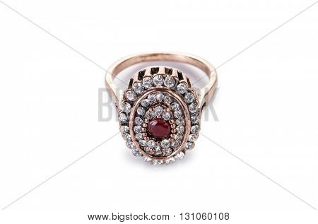 Gold jewellery ring isolated on the white background