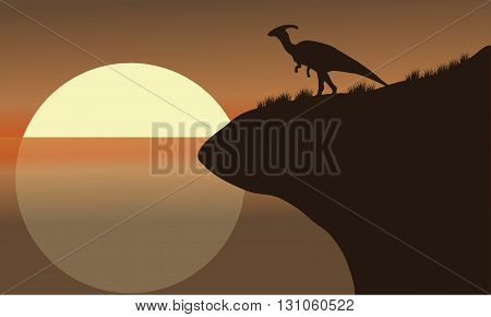 At afternoon silhouette of parasaurolophus beautiful scenery