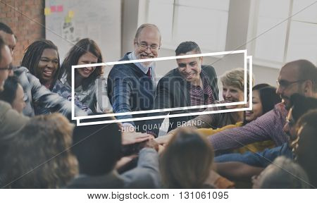 Casual People Teamwork Frame Graphic Concept