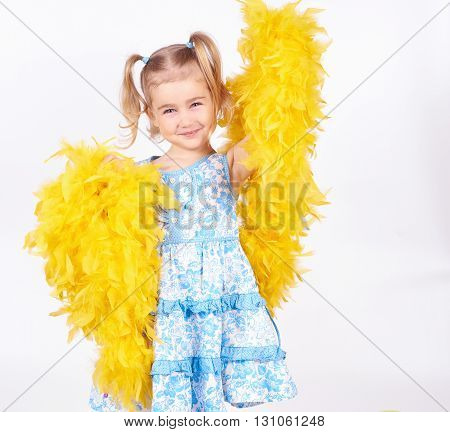Pretty Little Girl With The Yellow Boa