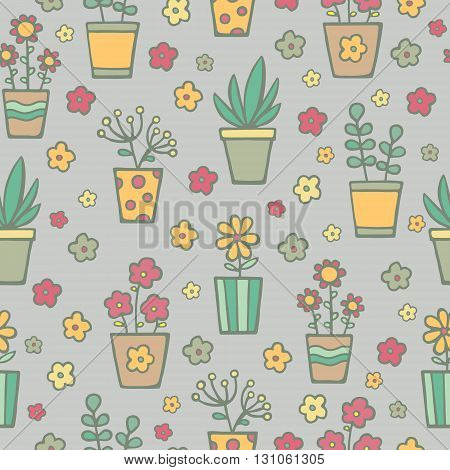 Vector hand drawn seamless pattern with house plants in pots. Doodle pattern with home flowers. Green, yellow, red, brawn retro colors.