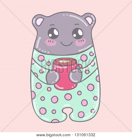 Vector kawaii doodle bear with cup of coffee. Grey bear in mint pajamas with dots. Hand drawn, isolated.