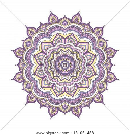 Vector hand drawn doodle mandala. Ethnic mandala with colorful ornament. Isolated. Yellow pink violet and white colors.