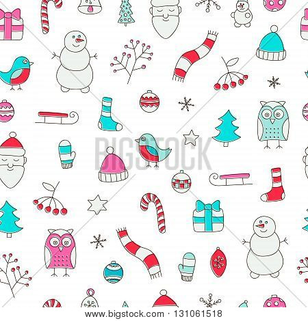 Winter christmas seamless pattern. Hand drawn doodle winter elements - spruce owl snowman scarf mittens socks star berries branch Santa Christmas tree balls sled.