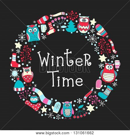 Winter round frame. Vector hand drawn doodle xmas elements. Star snowflake berry mittens teacups scarf hat socks. Winter time card.