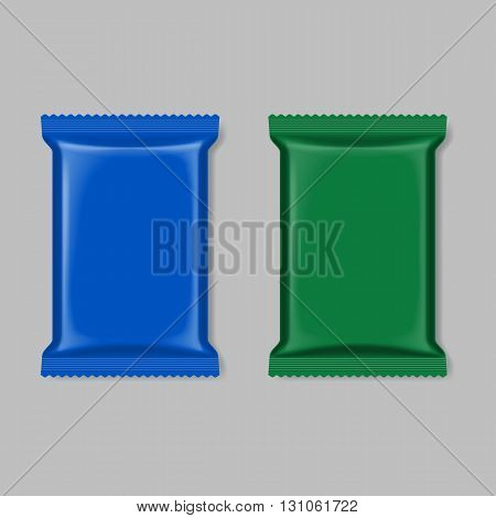Polymer packaging set blue and green isolated on gray