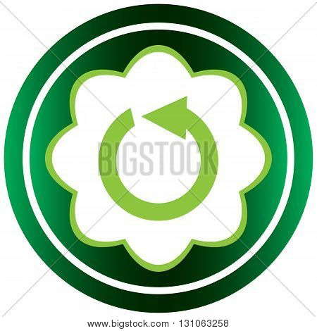 Green icon with a loading symbol on white