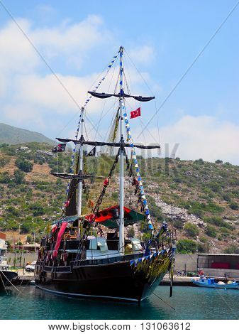 Magnificent sailboat for tourist excursions in Turkey.