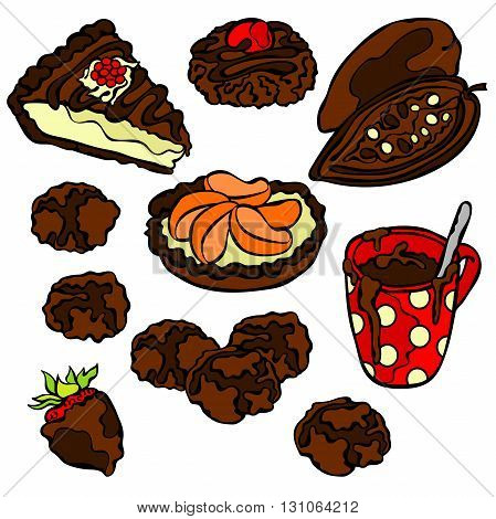 Chocolate pattern: sweets, pastry, candy, cookies, hot chocolate mug, slice of cake and chocolate covered strawberries. Isolated vector object on white background.
