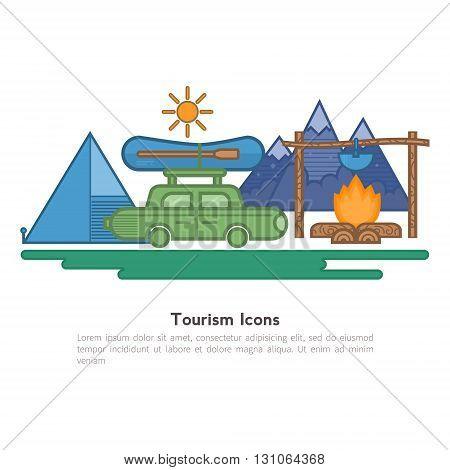 Travel flat icons backpack shoes compass. Design elements camping equipment hiking climbing recreational tourism. They can be used for banners greeting cards and other printed products
