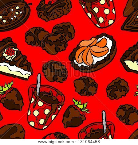 Chocolate pattern: sweets, pastry, candy, cookies, hot chocolate mug, slice of cake and chocolate covered strawberries. Seamless vector pattern (background).