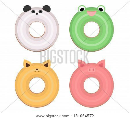 Set flat illustration donuts with muzzles of animals. Vector element separately from the background.
