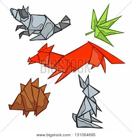 Origami. Forest animals: fox, raccoon, rabbit, hedgehog. Leaf. Isolated vector object on white background. Hand drawing.