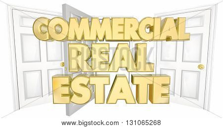 Commercial Real Estate Open Doors Words 3d Illustration