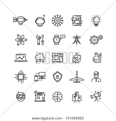Science, media and internet thin line vector icons. Science web and technology science icon illustration