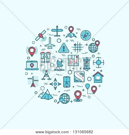 Cartography and topography line icons in maps location and navigation vector concept. Travel navigation icons and geography gps navigation signs in shape of circle