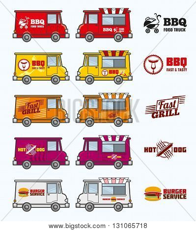 Food trucks vector set. Food car and lunch food service. Van restaurant transport illustration