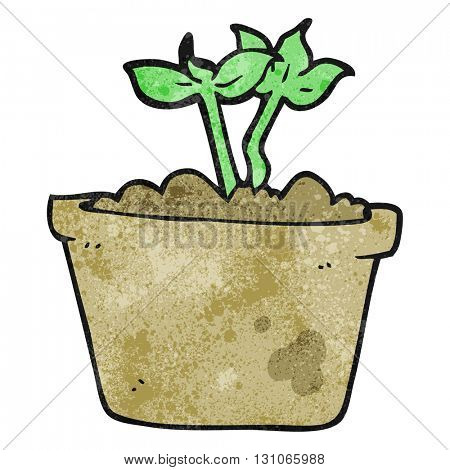 freehand textured cartoon sprouting plant