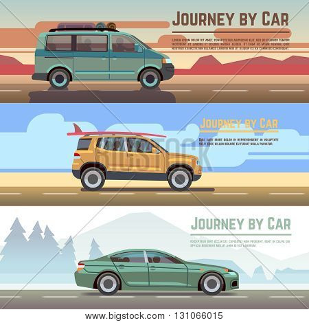 Traveling by car vector banners set. Car on road, auto holiday travel and car journey poster
