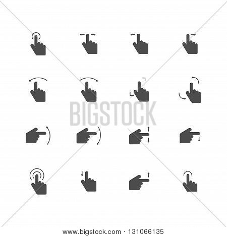 touch screen flat icons gray set of 16