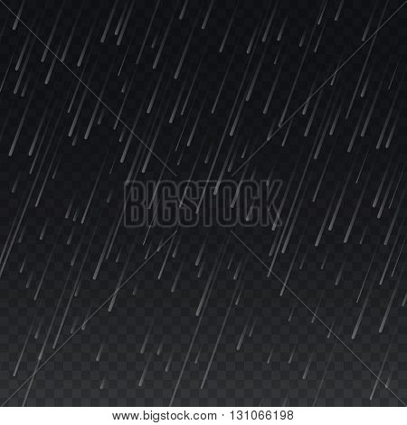 Vector rain on transparent plaid background. Weather rain vector nature and rain pattern backdrop illustration