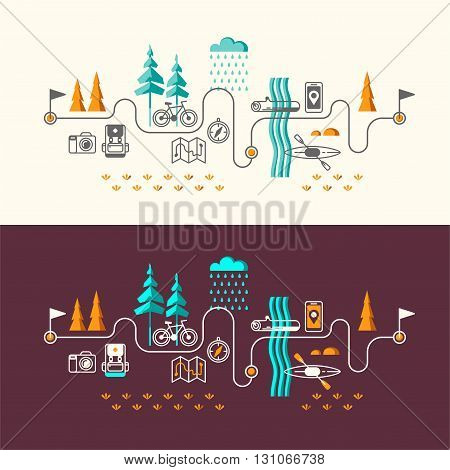 Summer vacation in nature. Vector concept illustrations with icons of travel and vacation.