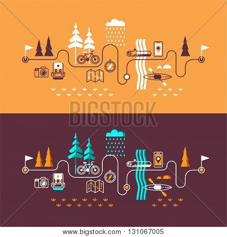 Summer vacation in nature. Vector concept illustrations with icons of travel and holiday.