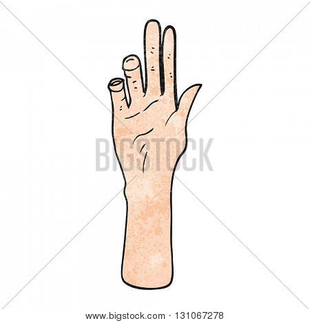 freehand textured cartoon reaching hand