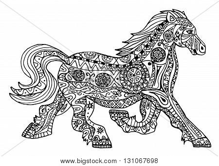 The black and white horse print with ethnic zentangle patterns. Coloring book for adults antistress. Art therapy, zenart, meditaion. The image on the fabric