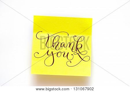 yellow stickers on a white background with words thank you.